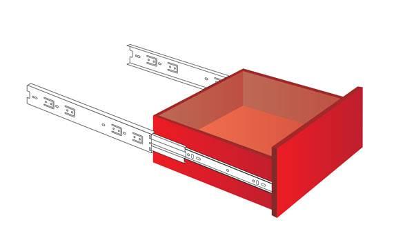 Схема монтажа в ящик направляющих